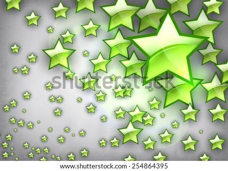 Vector star design. green shining stars on the gray background. - stock vector