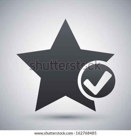 Vector star favorite icon with check mark glyph - stock vector