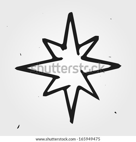 Vector star, hand drawn - stock vector