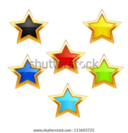 Vector star icons on white background - stock vector
