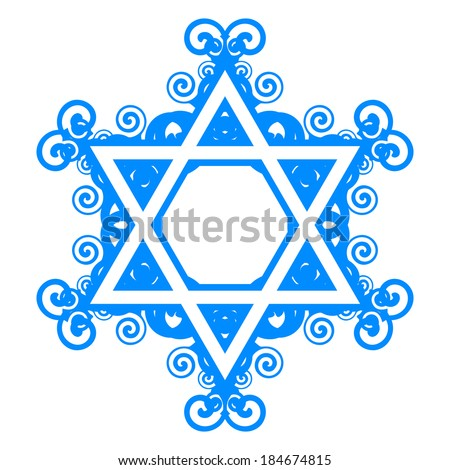 Vector star of David with floral decorations - stock vector