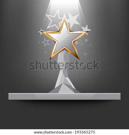 vector star trophy on shelf, award ceremony - stock vector