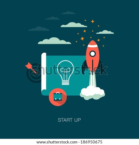 vector start up business concept illustration - stock vector