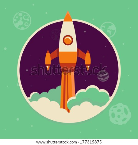 Vector start up concept in flat style - space ship starting up in the sky - stock vector