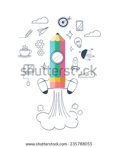 Vector start up flat illustration. Business doodle icon set - stock vector