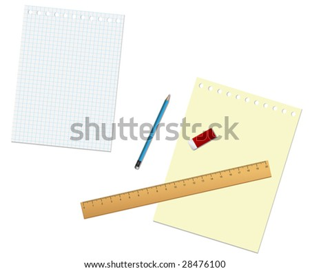 Vector. Stationary tools and paper isolated on the white