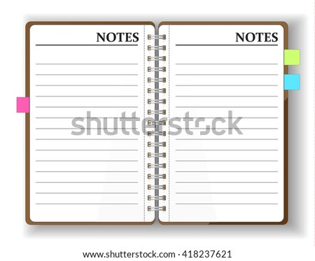 Vector. Stationery. An open pocket diary / notebook / scrapbook / textbook / notepad / organizer /  journal. Isolated illustration. Blank pages