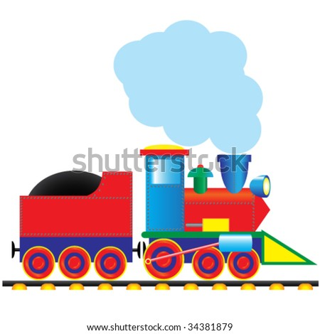 Vector steam locomotive. Vintage style - stock vector