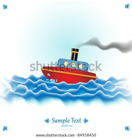 Vector Steamboat Illustration - stock vector