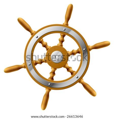 Vector steering wheel. Detailed portrayal. - stock vector
