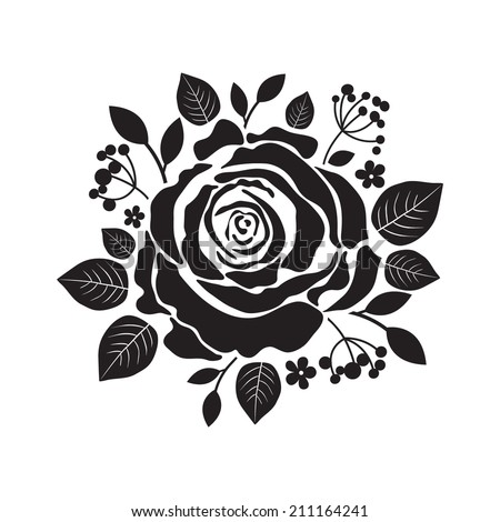 Vector stencil roses. Black silhouette of rose with leaves. - stock vector