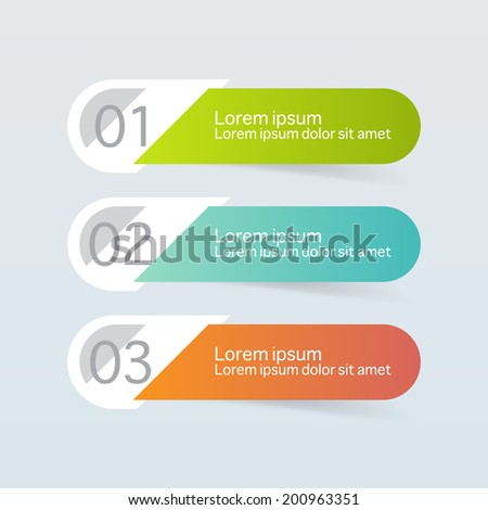 Vector steps, progress banners with colorful tags. - stock vector