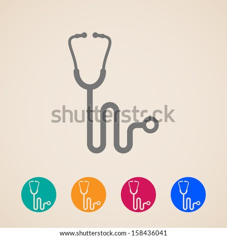 vector stethoscope icons  - stock vector