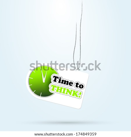 Vector stick label with clock time to. icon