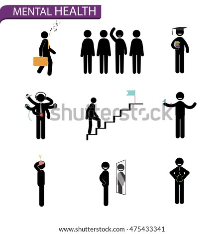 vector stick man set. Rules for mental health