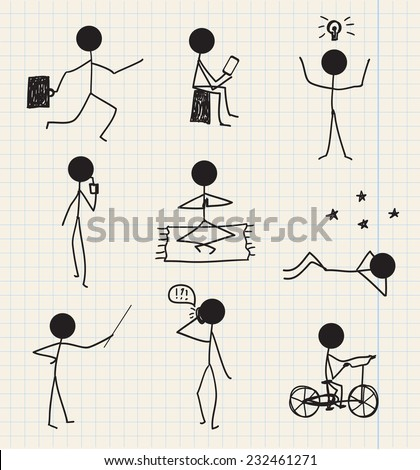 vector stick man, stick figure hand drawn daily life, business set isolated - stock vector