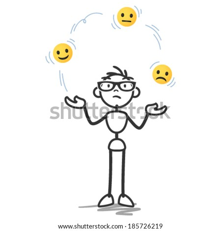 Vector stick man: Stick figure juggling with happy, sad and neutral looking faces on yellow balls. - stock vector