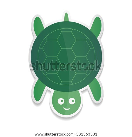 Vector sticker cartoon illustration of a cute smiling happy turtle character, isolated on white background.