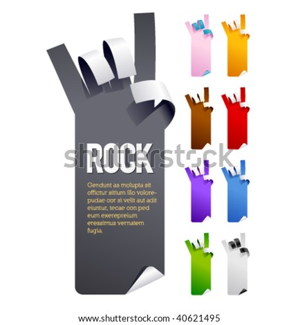 Vector sticker in the form of hands. Multicolor set. - stock vector