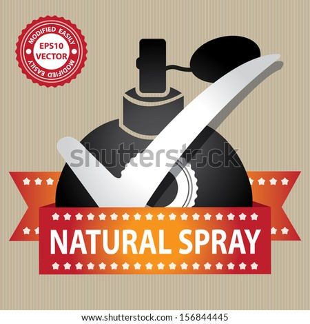 Vector : Sticker, Label or Badge For Product Information or Product Ingredient Present By Black Glossy Style Natural Spray Perfume Bottle Sign With Check Mark in Brown Background  - stock vector