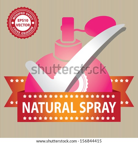 Vector : Sticker, Label or Badge For Product Information or Product Ingredient Present By Pink Glossy Style Natural Spray Perfume Bottle Sign With Check Mark in Brown Background  - stock vector