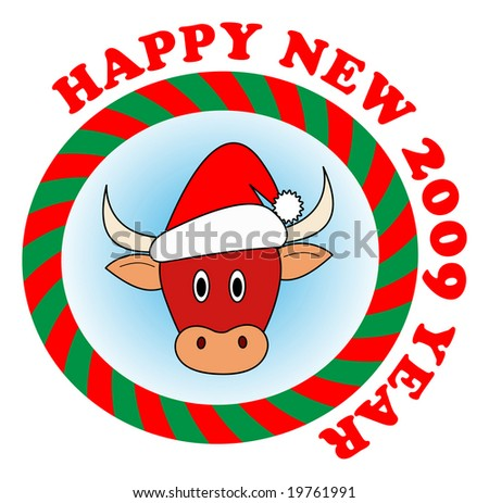 Vector sticker: Little red new year bull in red Santa hat - stock vector