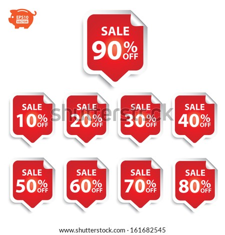 Vector: Sticker or sign sale up to 10 - 90 percent text with red. Eps10