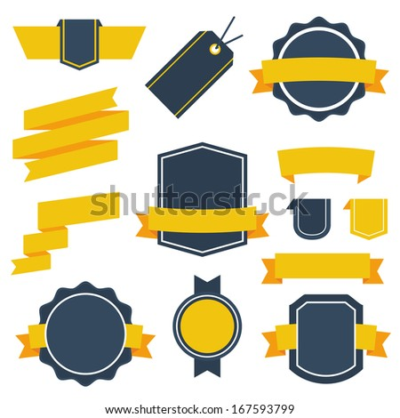 Vector Stickers and Badges Set 2. Flat Style. - stock vector
