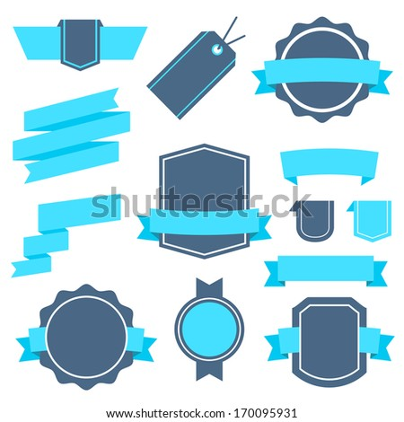 Vector Stickers and Badges Set 4. Flat Style. - stock vector