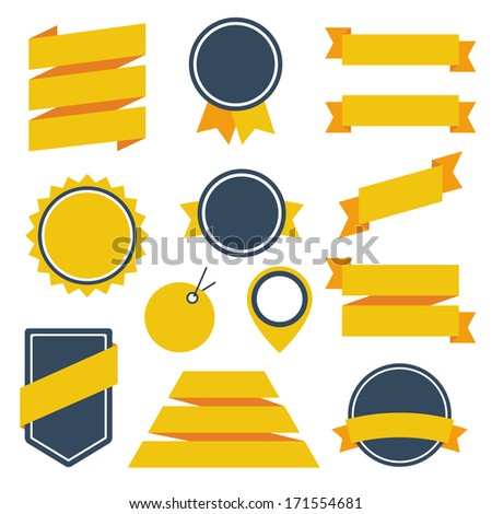 Vector Stickers and Badges Set 6. Flat Style. - stock vector