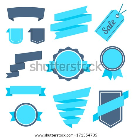 Vector Stickers and Badges Set 7. Flat Style. - stock vector