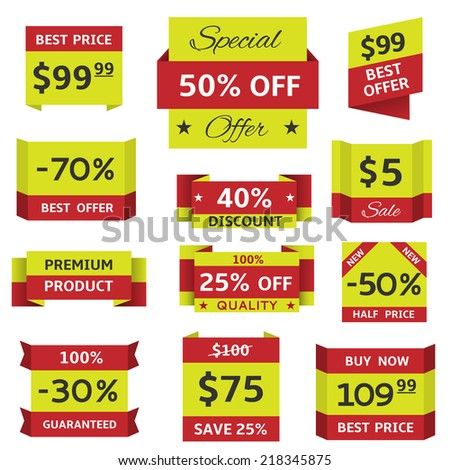 Vector stickers and banners for website, shop - stock vector
