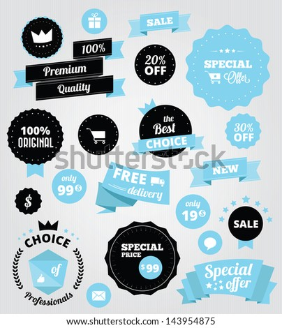vector stickers and ribbons set blue - stock vector