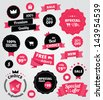 vector stickers and ribbons set red - stock vector