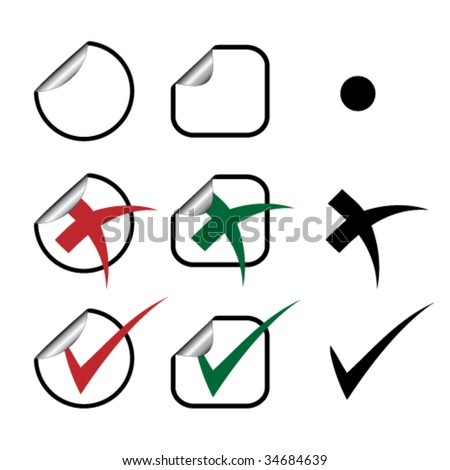 Vector stickers - check marks - stock vector