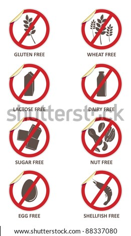Vector stickers for allergen free products, such as gluten free, lactose free, wheat free, dairy free, sugar free, nut free, egg free and shellfish free - stock vector