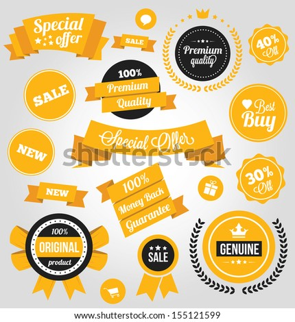 Vector Stickers Labels and Badges Set Yellow