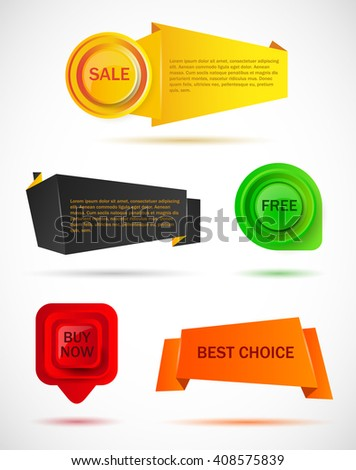 vector stickers, price tag, banner, button