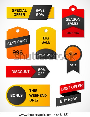 Vector Stickers Price Tag Banner Label Stock Vector 443660002