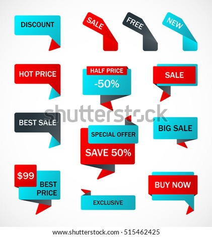 Vector Stickers Price Tag Banner Label Stock Vector 458606791
