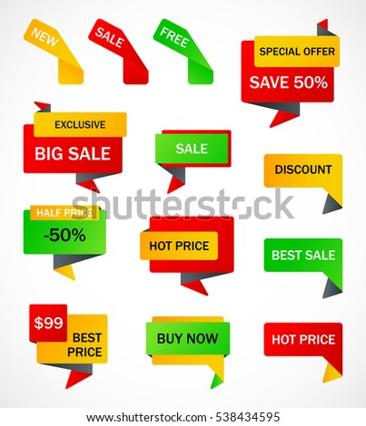 Vector Stickers Price Tag Banner Label Stock Vector 455019835