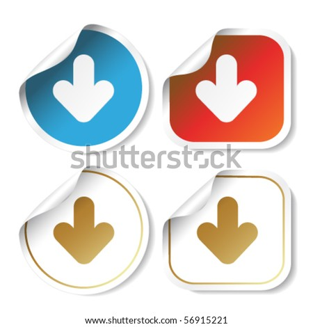 Vector stickers with arrow - stock vector