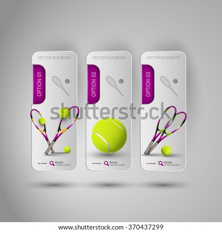 Vector stickers with ball and racket of tennis. Realistic objects on the gray banners as design elements. - stock vector