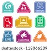 Vector stickers with social media and internet  marketing icons - web concept - stock vector
