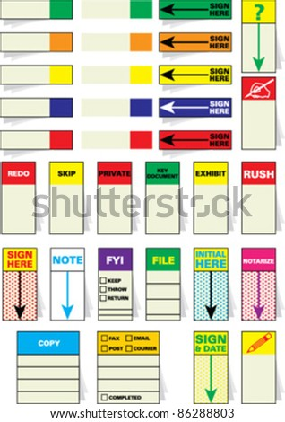 Vector sticky notes, post-it notes, sign here tabs, sticky flags and adhesive arrow flags designed to keep track of important notes, signatures, files, messages. Draw attention to where you need it. - stock vector
