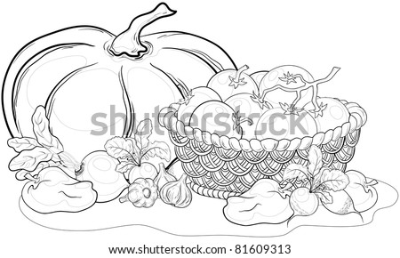 Vector, still life: various vegetables and wattled basket, monochrome contours - stock vector