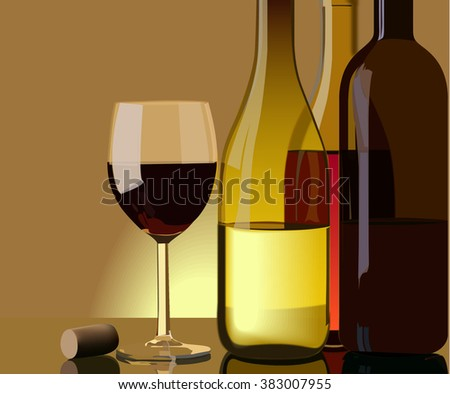 Vector still life with bottles of wine