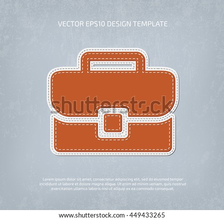 Vector stitched applique style briefcase icon.