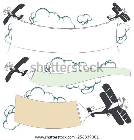 Vector stock illustration. Biplane aircraft pulling advertisement banner - stock vector