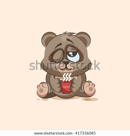 Vector Stock Illustration isolated Emoji character cartoon Bear just woke up with cup of coffee sticker emoticon for site, infographic, video, animation, websites, e-mails, newsletter, reports, comics - stock vector